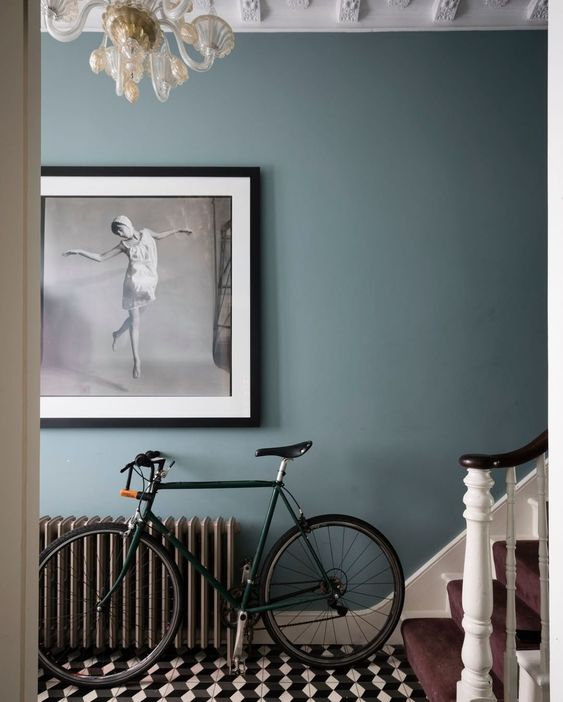 grey blue with tiled floor