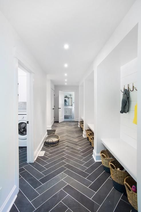 grey herringbone tiling