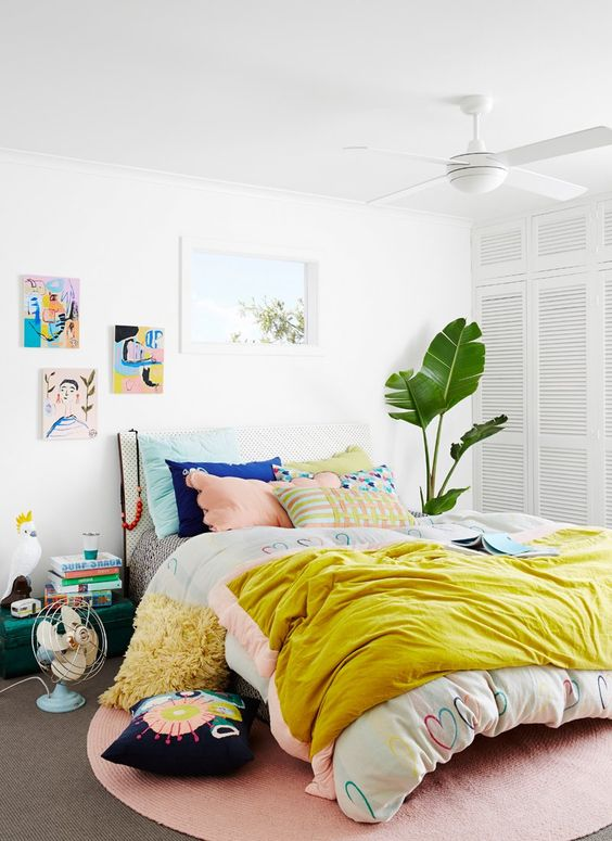 happy teens yellow bedroom