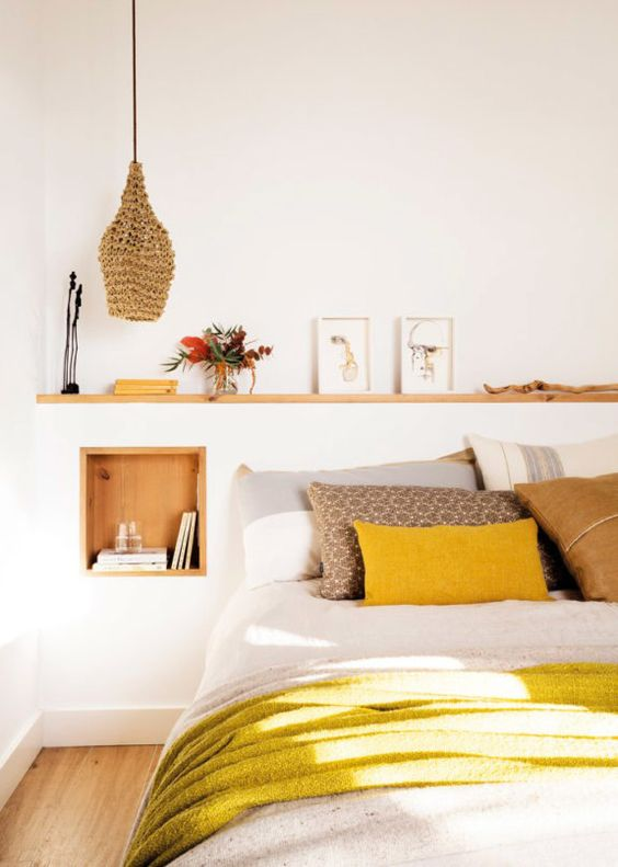 mustard and naturals in yellow bedroom