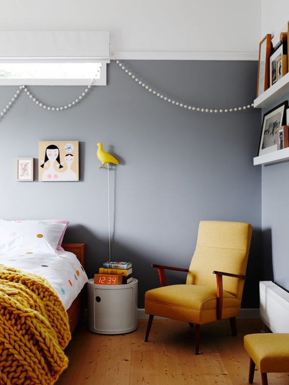 mustard and pale blue grey