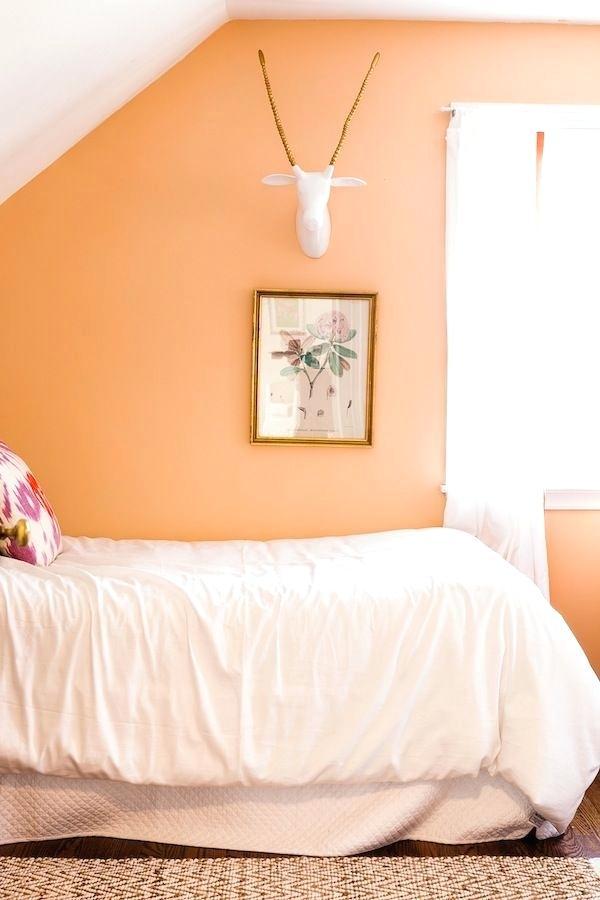 orange pastel bedroom