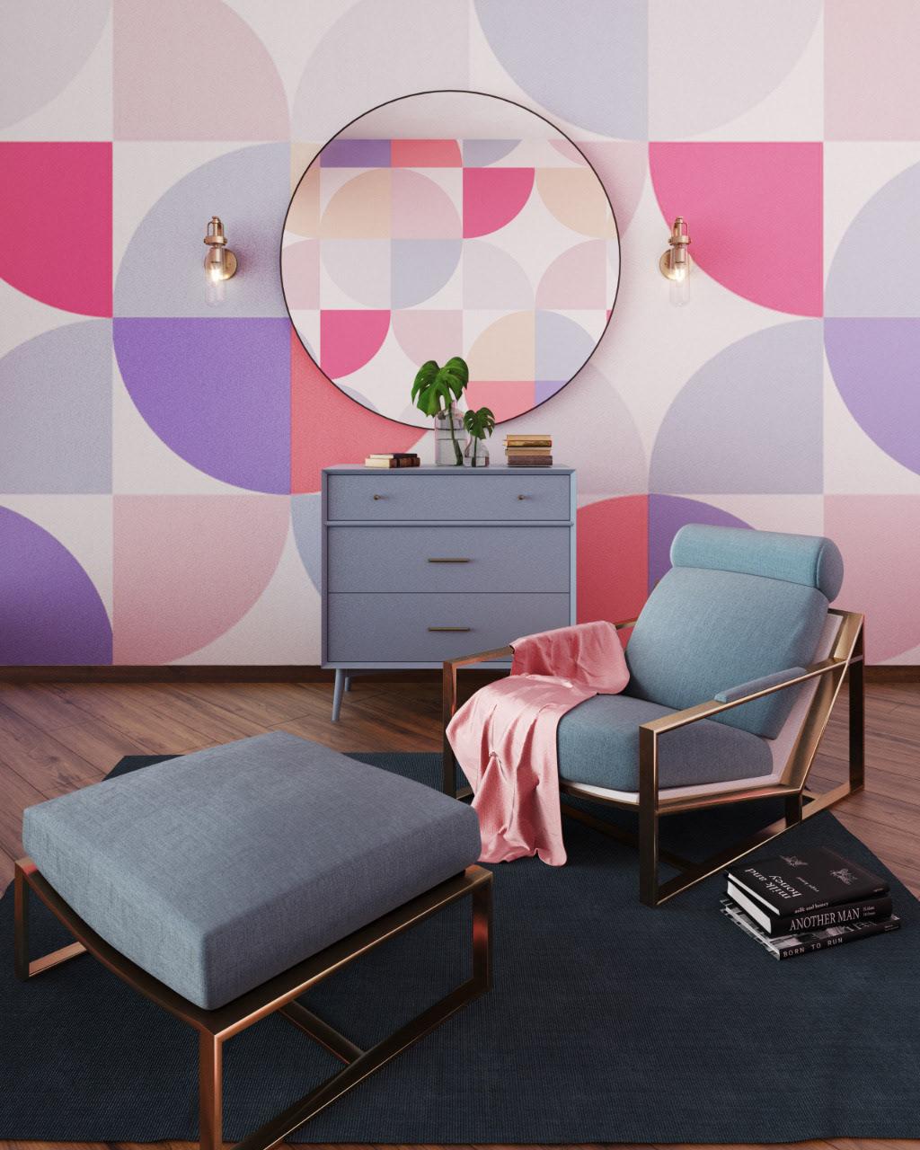 pastel bedroom wall art