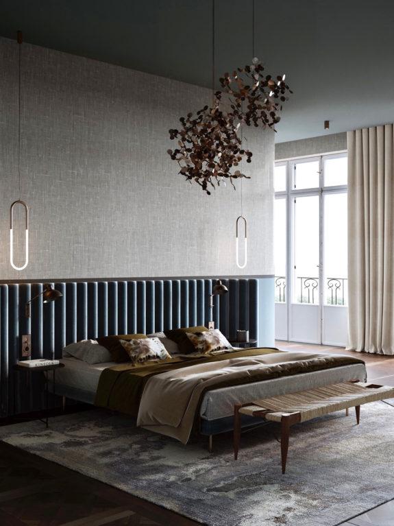 statement lights in art deco bedroom