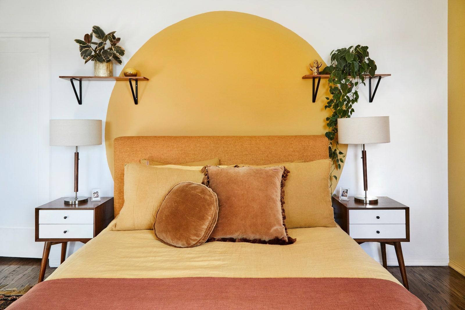 sunset colours in modern art deco bedroom