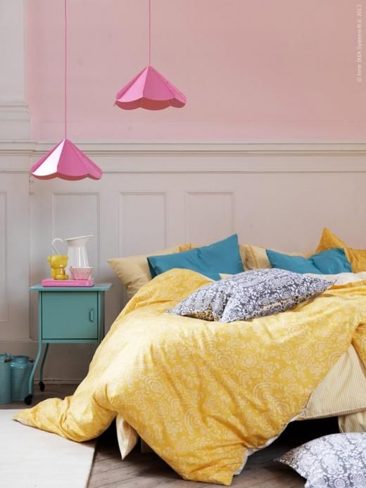 yellow and pink bedroom