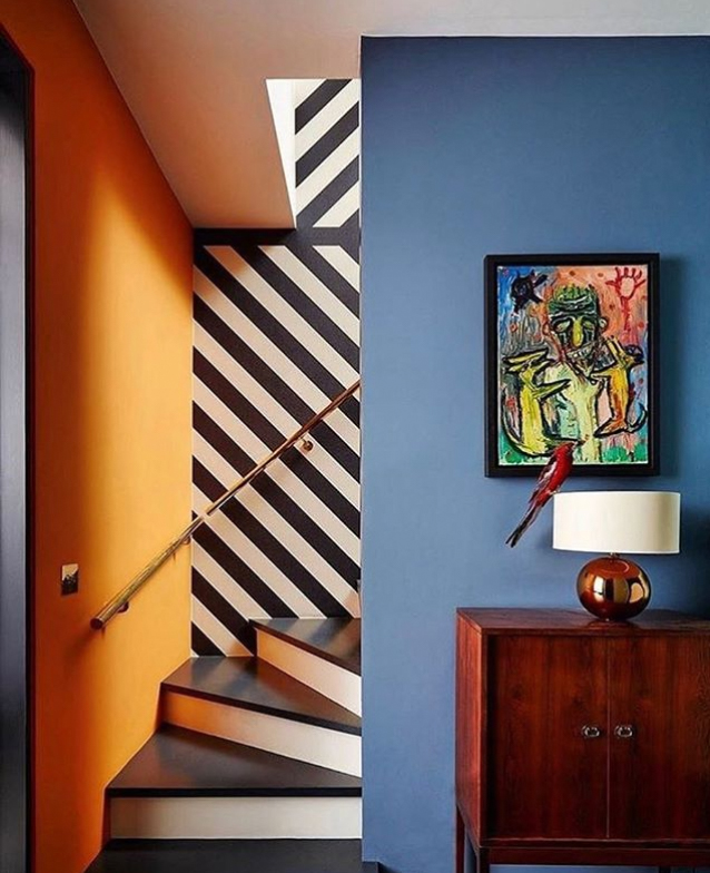 Orange and blue walls
