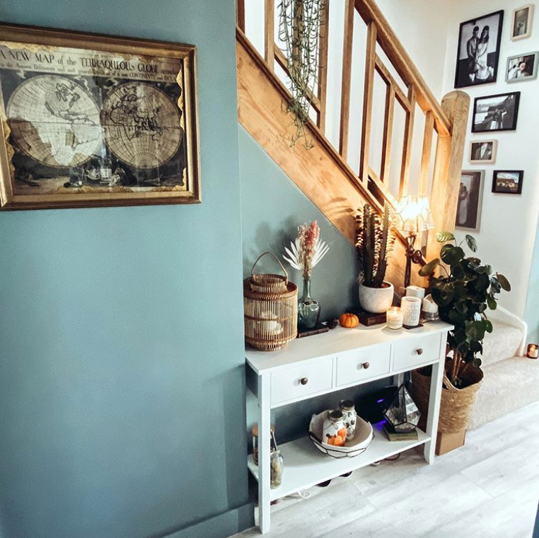Muted teal walls