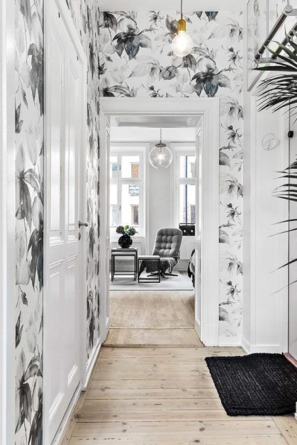 black and white floral hallway wallpaper