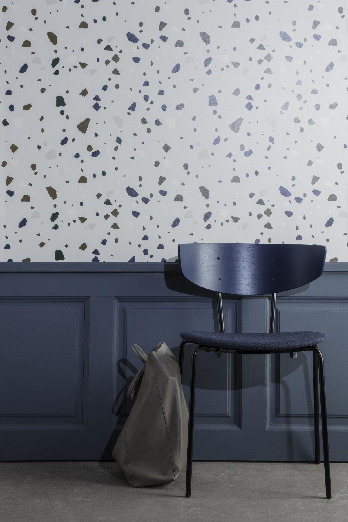 dark grey and terrazzo wallpaper