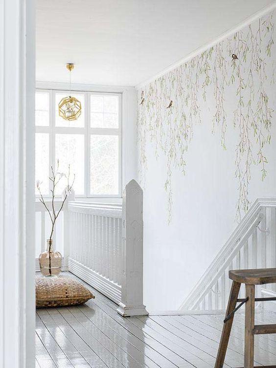 ethereal botanical hallway wallpaper