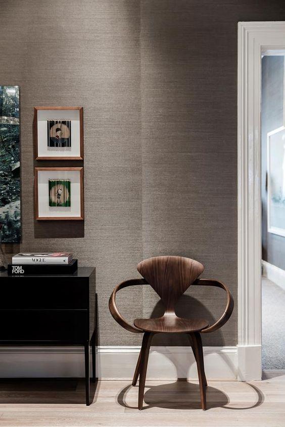 grasscloth grey hallway wallpaper