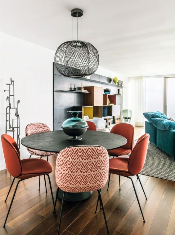 mismatch with pattern dining chairs