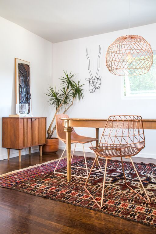 boho dining room with midcentury vibes