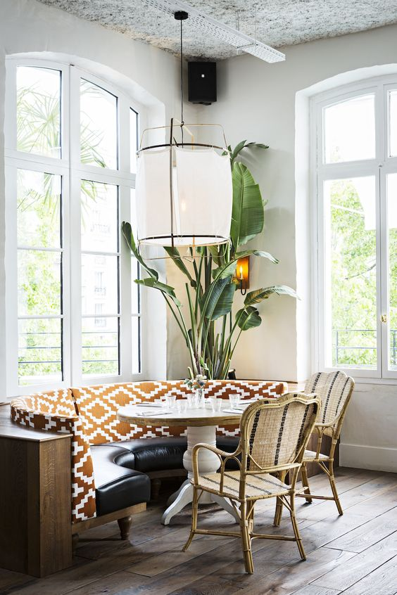 boho patterned banquette dining room
