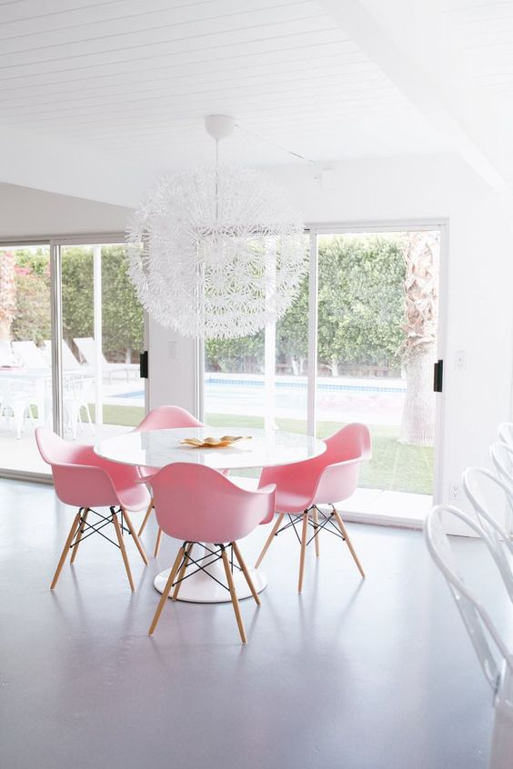 pink dining room chairs