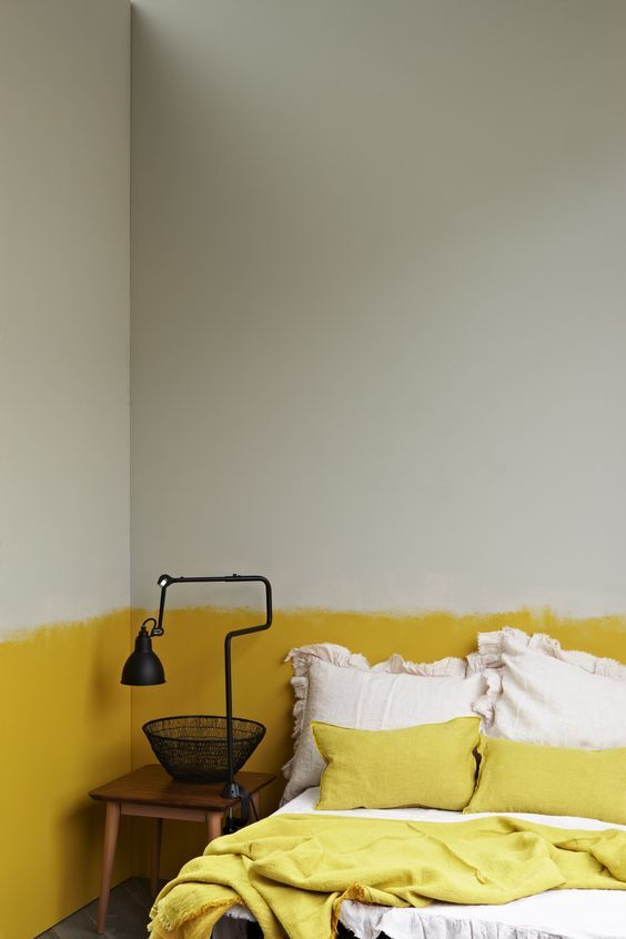 raw edge yellow half wall
