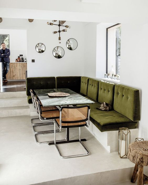 retro green velvet seating