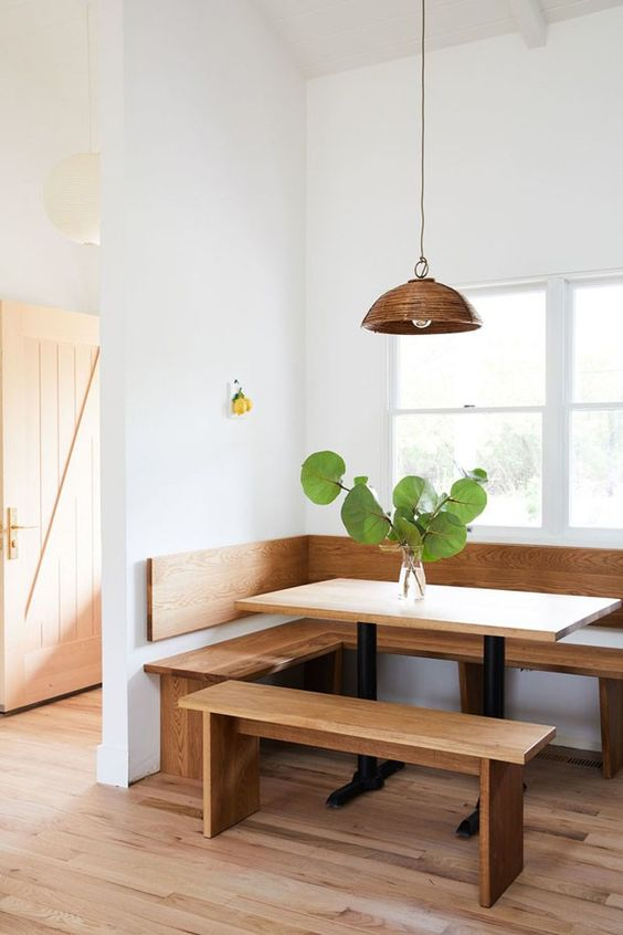 timber and white kitchen dining