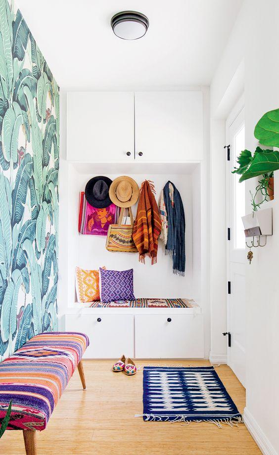 tropical boho hallway wallpaper