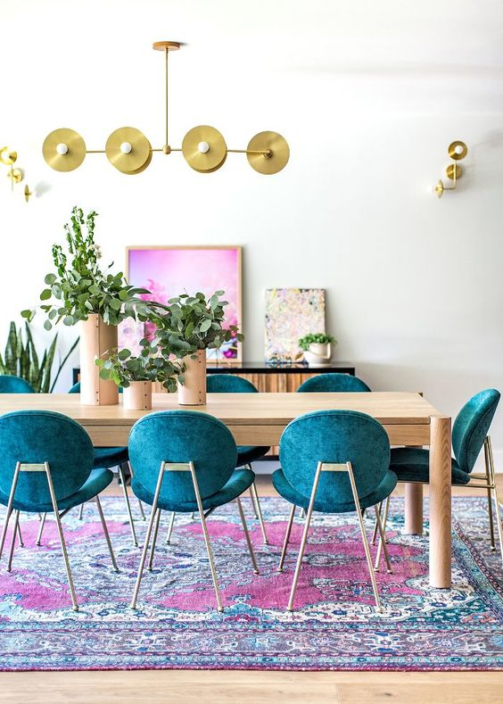 vivid colours in boho dining room