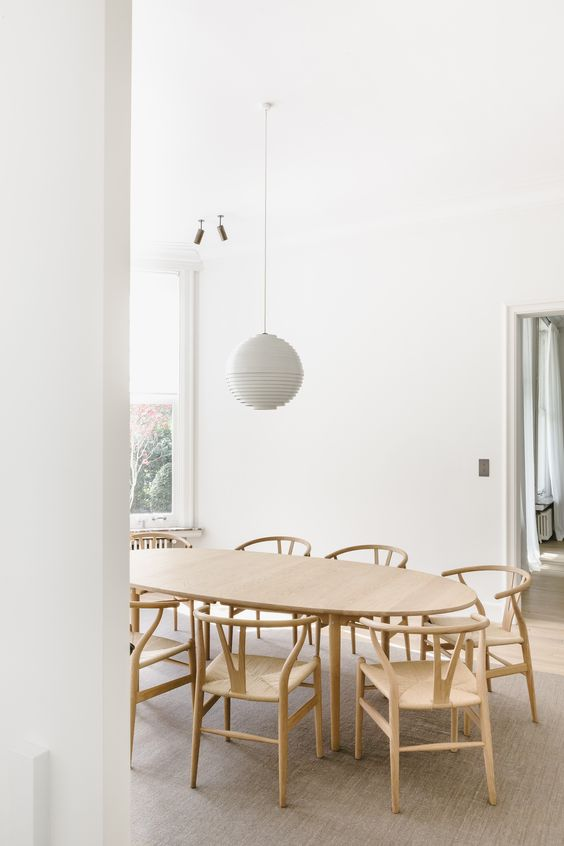 white and timber dining room