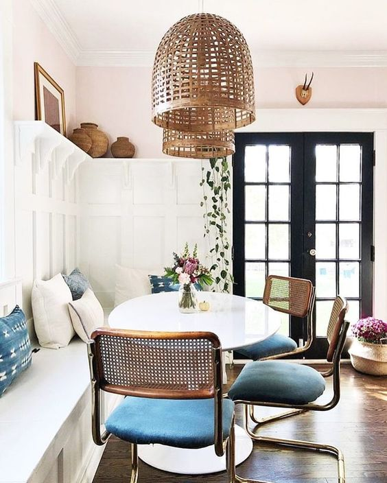 woven materials for boho dining