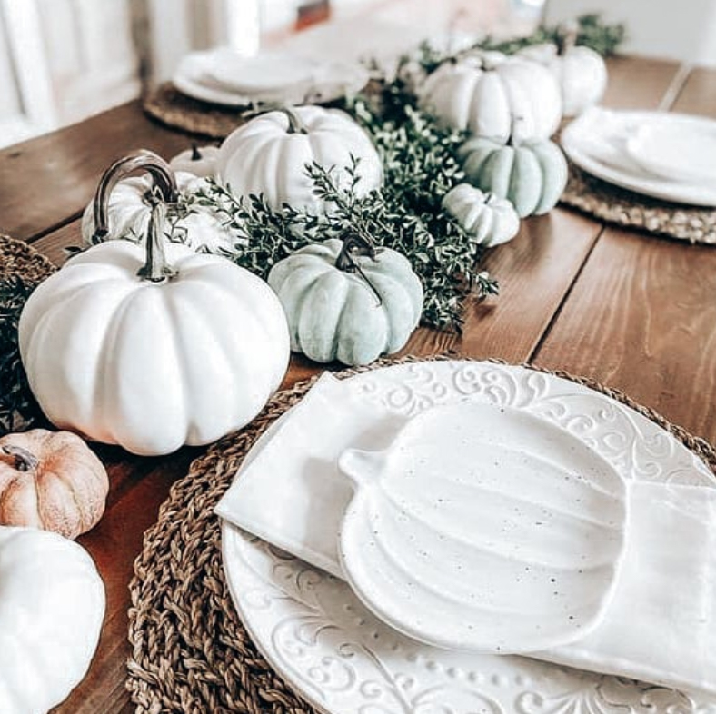 Pumpkins and halloween fall dining room setting