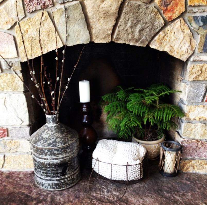 Stone empty fireplace