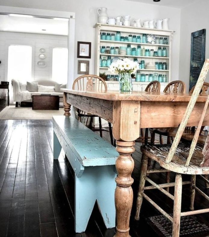 Recycled farmhouse rustic dining room furniture