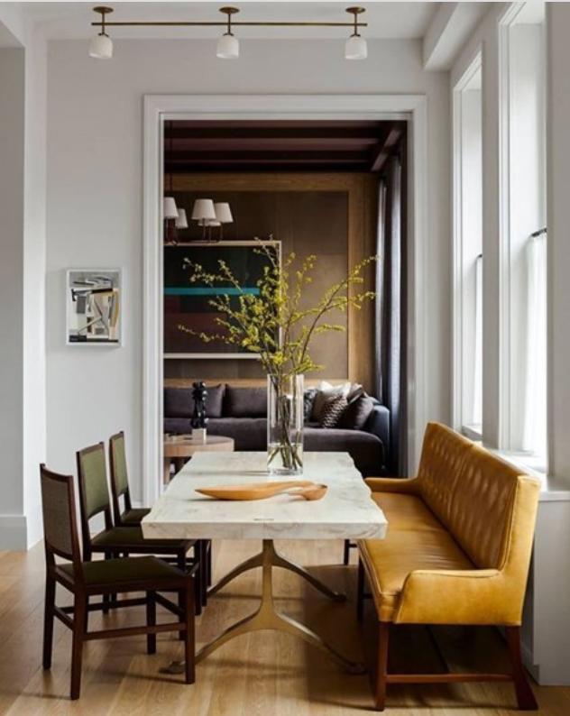 Mustard seat in dining room