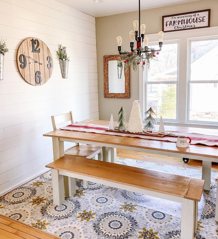 Bench seating around dining room