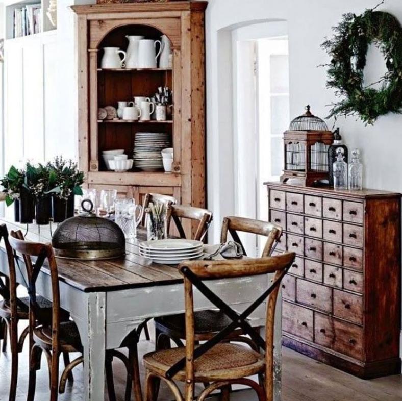 Dark wood furniture in a farmhouse kitchen