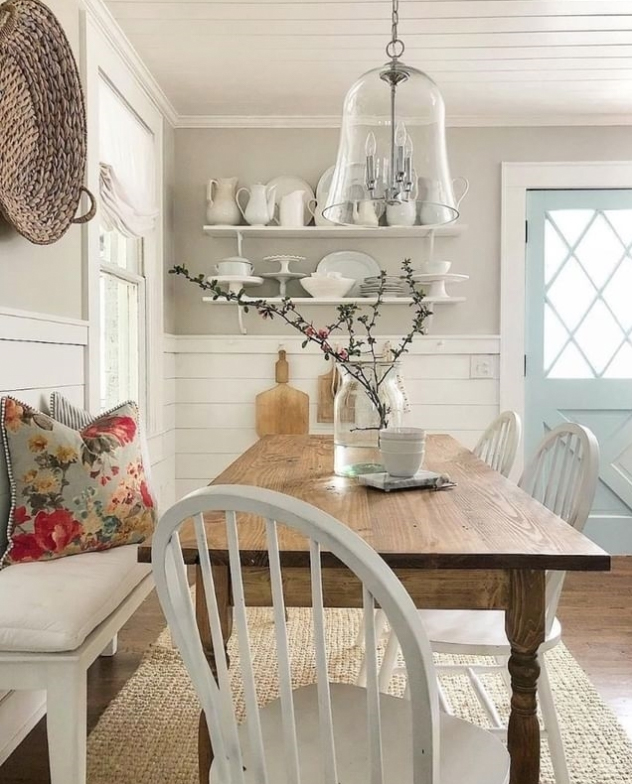 Blue door in a farmhouse kitchen dining room