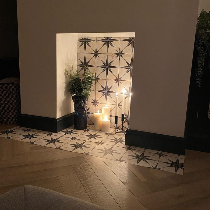 Tiles in fireplace