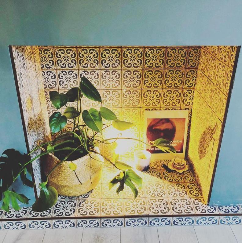 Tiled empty fireplace ideas