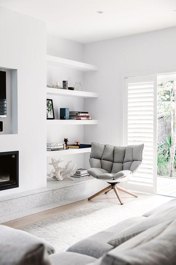 black fireplace into all white scheme