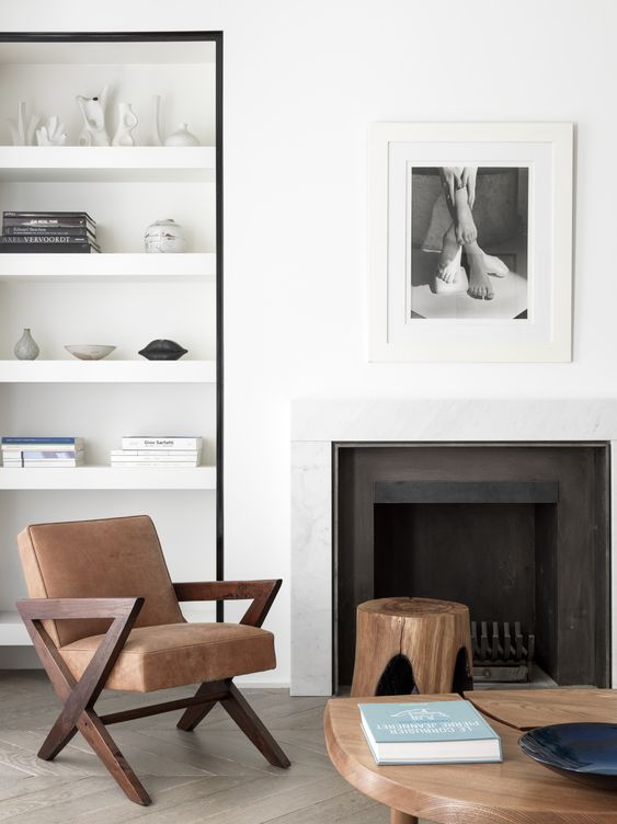 black white and timber fireplace ideas