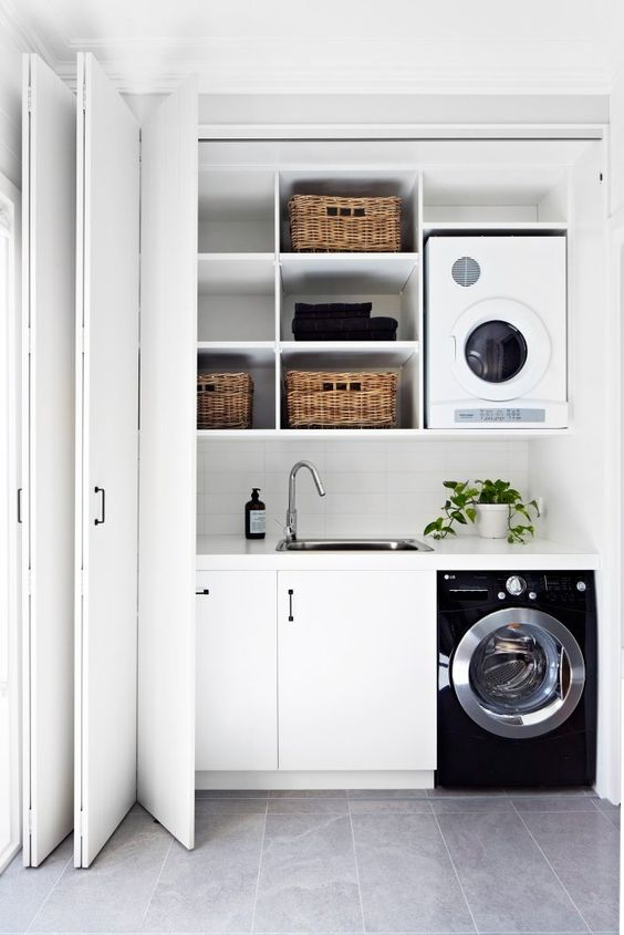 black white and natural utility room