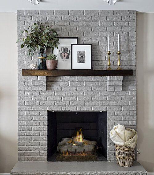 classic grey brick fireplace