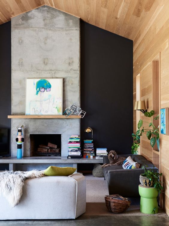 concrete black and timber