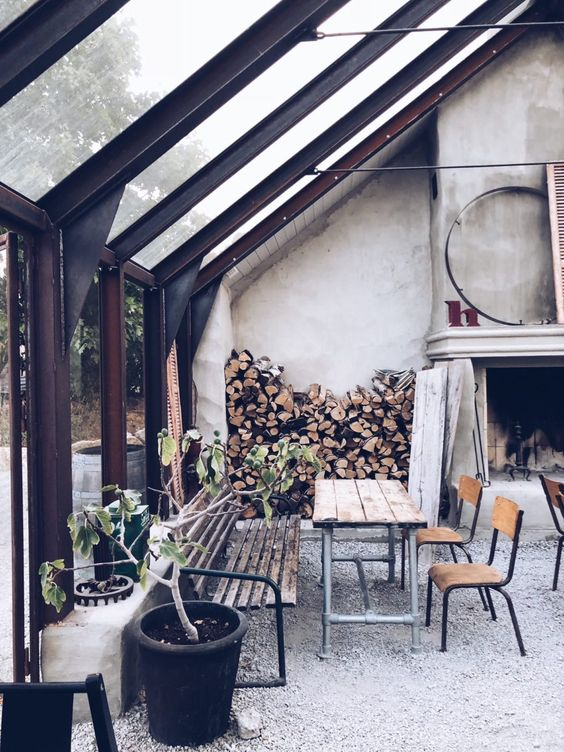 conservatory with fireplace
