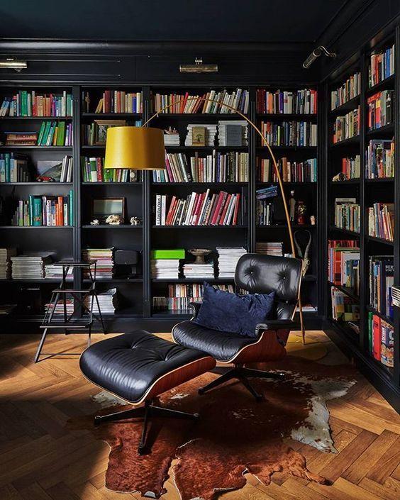 dark home library