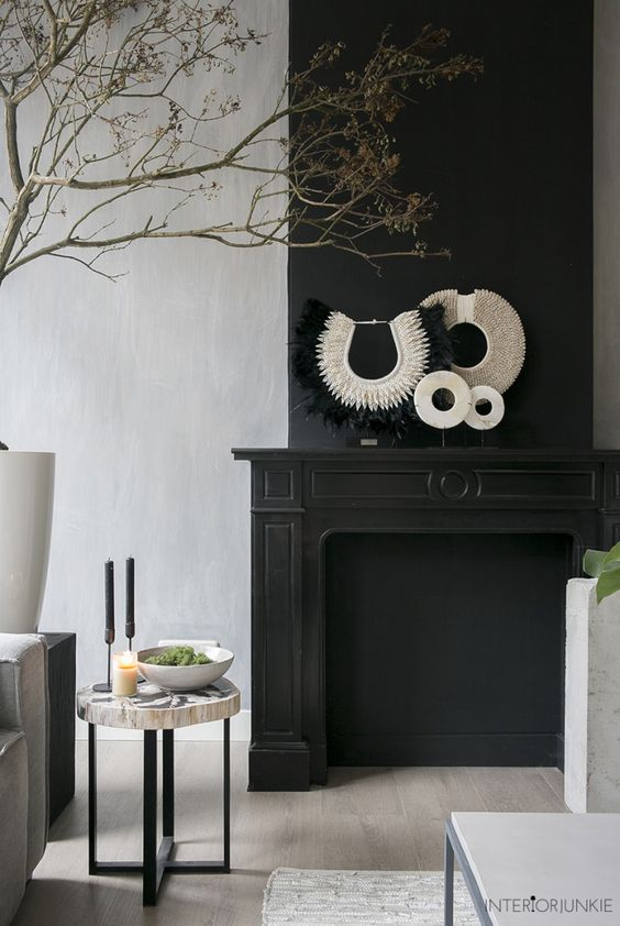 ethnic decor on mantel
