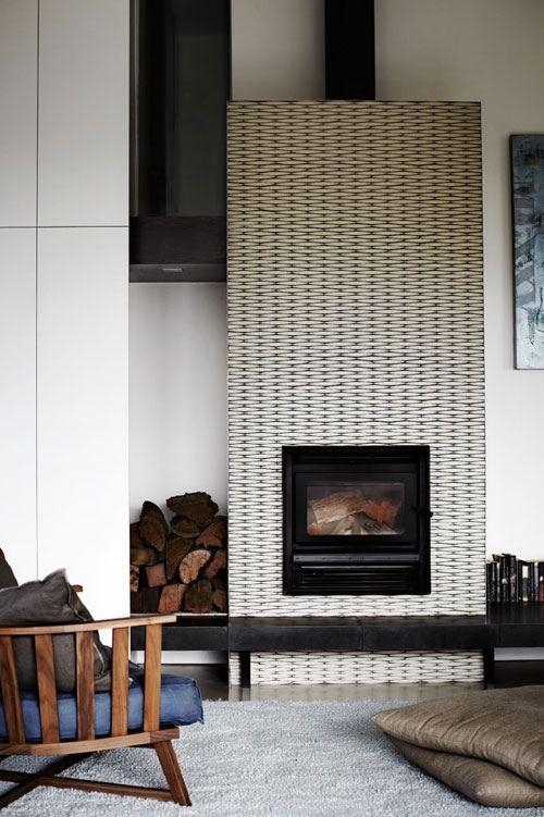metal textured fireplace