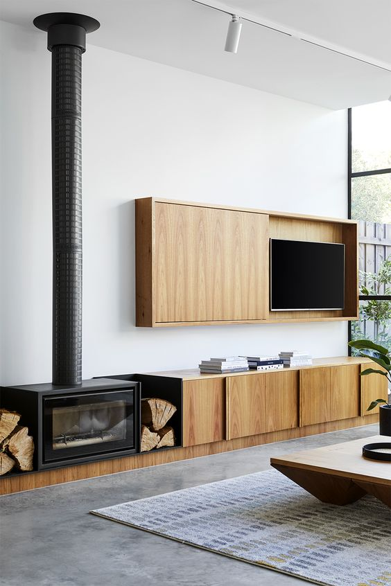 midcentury timber fireplace surrounds