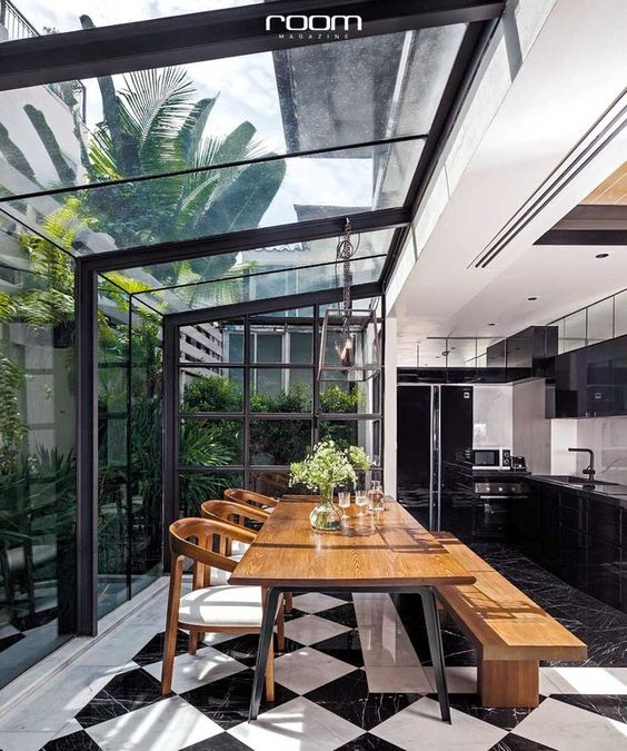 modern black and white and timber