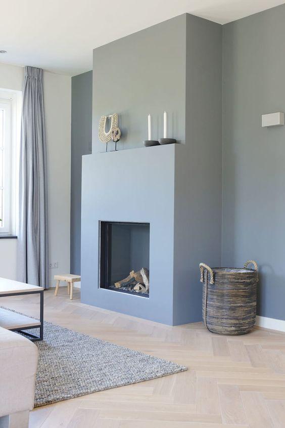 pale blue fireplace