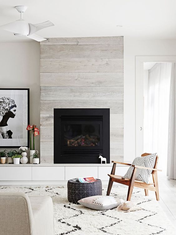 pale grey and black fireplace