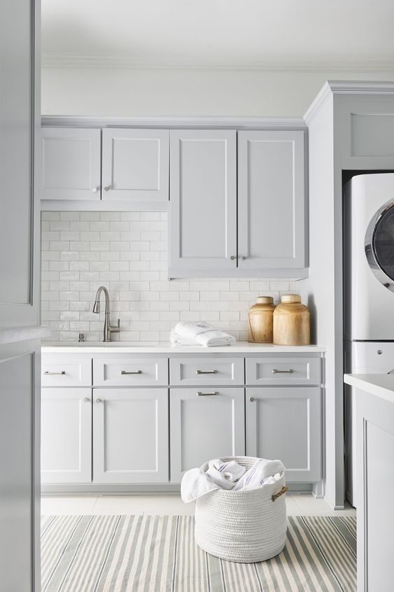 pale grey and subway tile